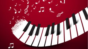 鍵盤と音符が踊る楽しげなイラスト